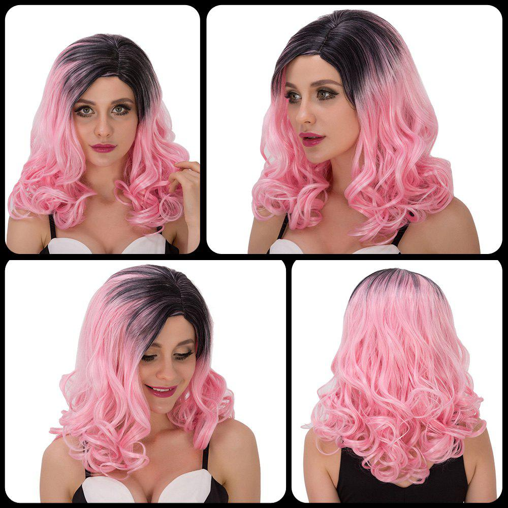 Boutique Women's Medium Wavy Side Parting Black Mixed Pink Cosplay Lolita Synthetic Wig - BLACK/PINK