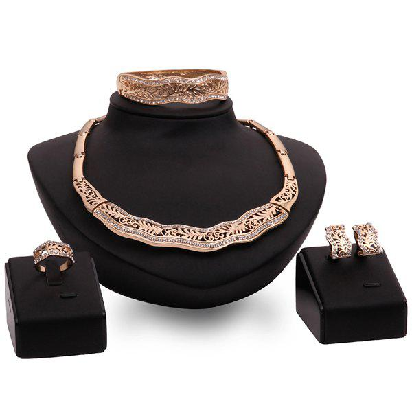 A Suit of Rhinestone Branch Necklace Bracelet Ring and Earrings For Women - GOLDEN