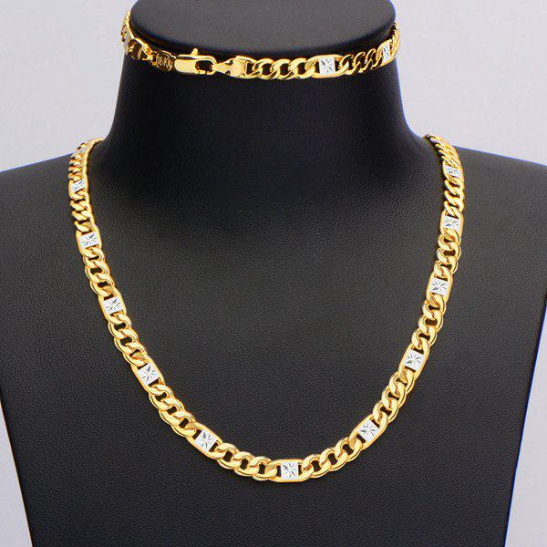 A Suit of Fake Crystal Geometric Necklace and Bracelet - GOLDEN