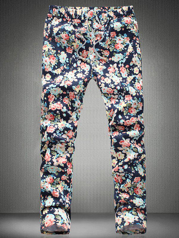 Stylish Tiny Flower Printed Drawstring Waistband Casual Pants For Men - COLORMIX 4XL