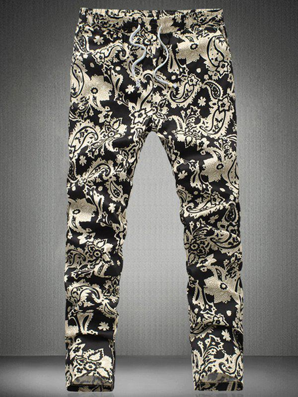 Chic Floral Printed Drawstring Waistband Casual Pants For Men - BLACK 5XL