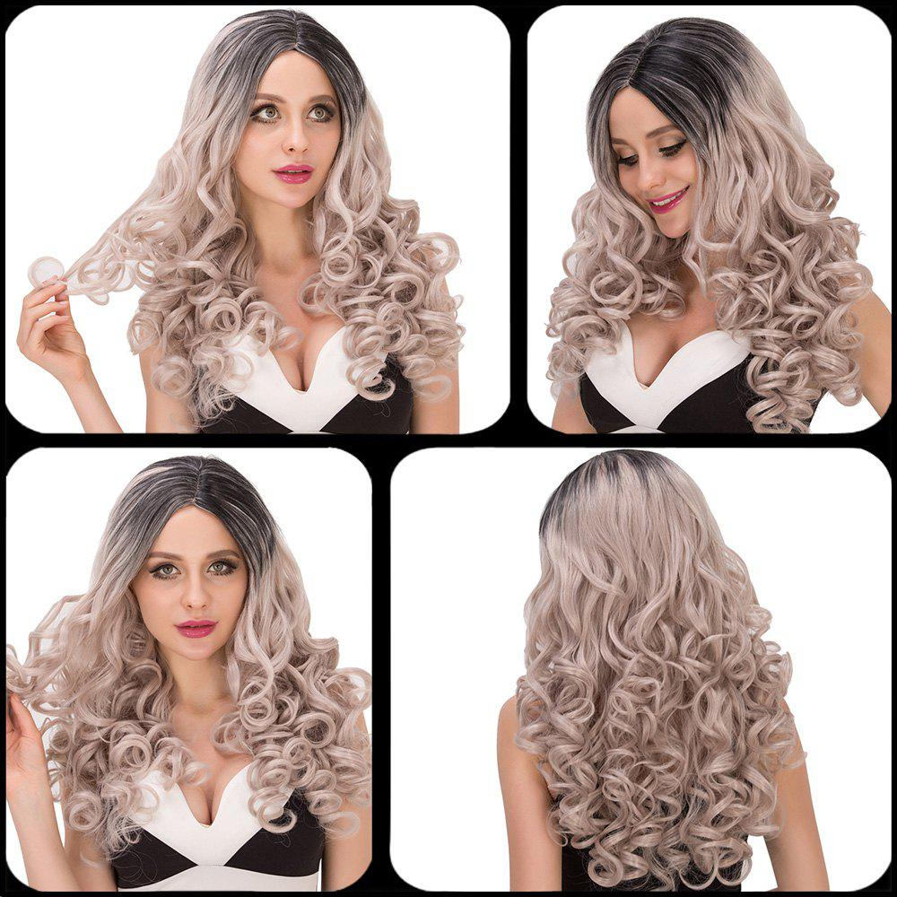 Boutique Women's Long Wavy Side Parting Black Mixed Silver Cosplay Lolita Synthetic Wig - COLORMIX