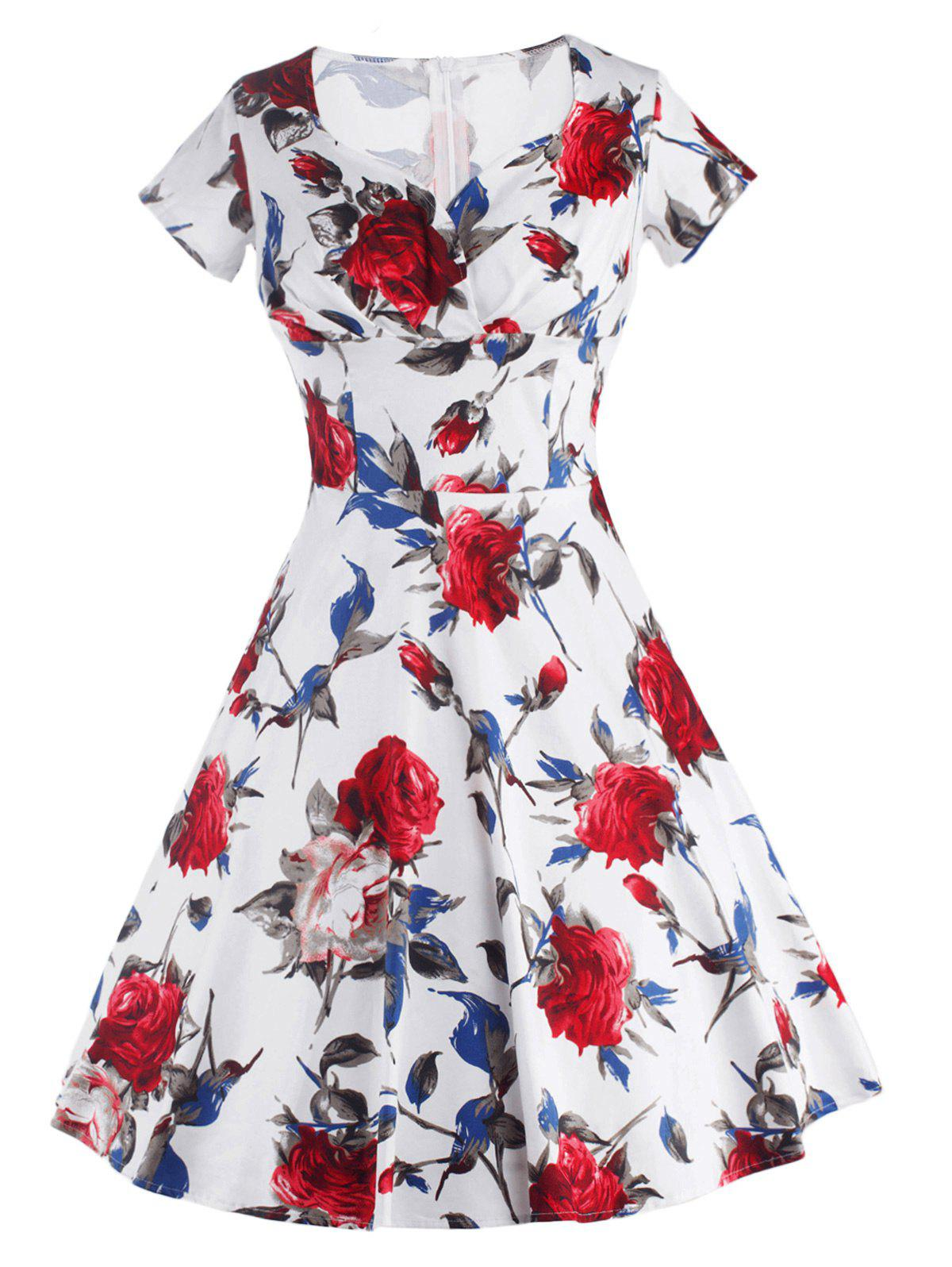 Retro Short Sleeve Sweetheart Neck Women's Pin Up Dress - RED S
