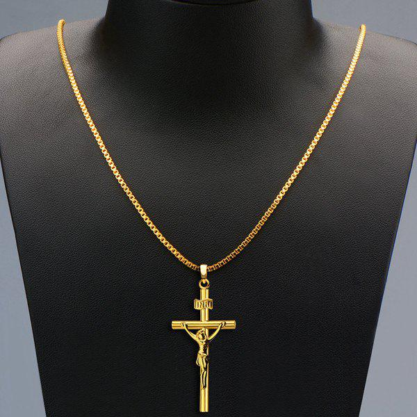 Delicate Crucifix Hollow Out Pendant Necklace For Men - GOLDEN