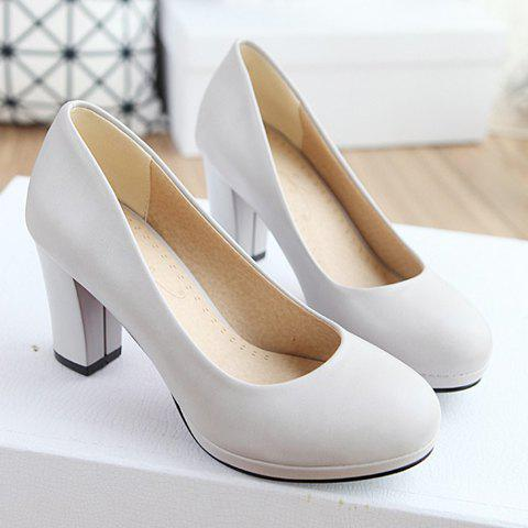 Concise Chunky Heel and Round Toe Design Women's Pumps
