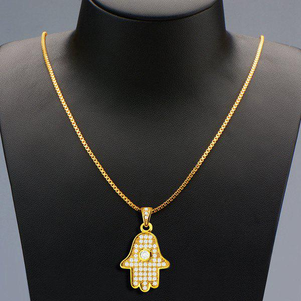 Delicate Rhinestoned Palm Necklace For Men - GOLDEN