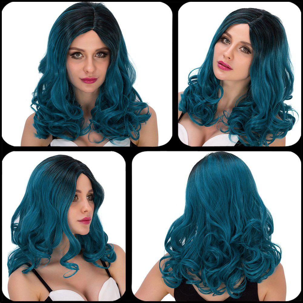 Vogue Women's Medium Wavy Side Parting Ombre Color Cosplay Lolita Synthetic Wig - COLORMIX
