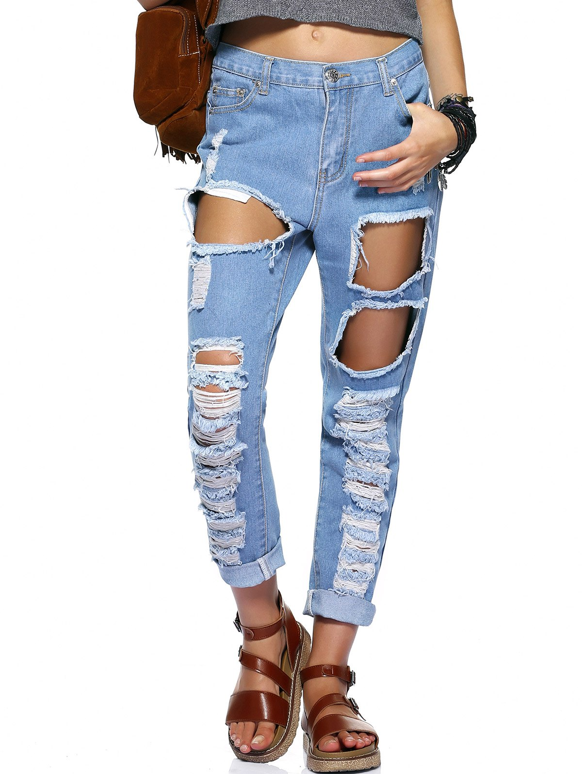 Stylish Women's Bleach Wash Ripped Jeans - BLUE XL