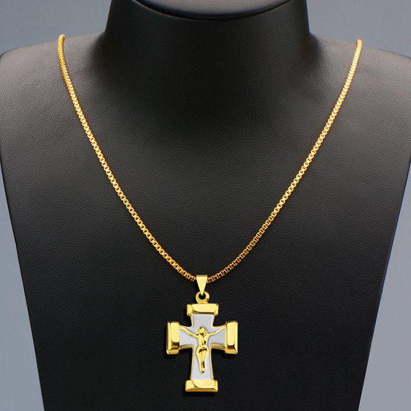 Delicate Crucifix Shape Pendant Necklace For Men - GOLDEN
