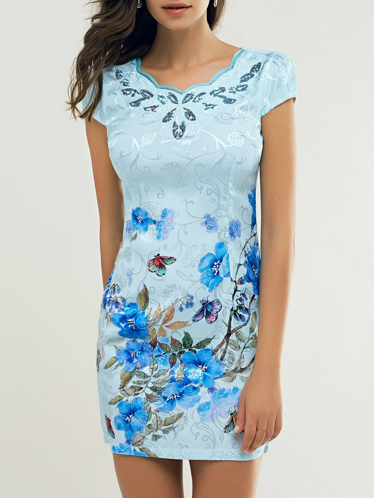 Cheong-Sam Wave Cut Foral Dress