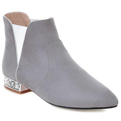 Leisure Suede and Pointed Toe Design Women's Ankle Boots - GRAY 38