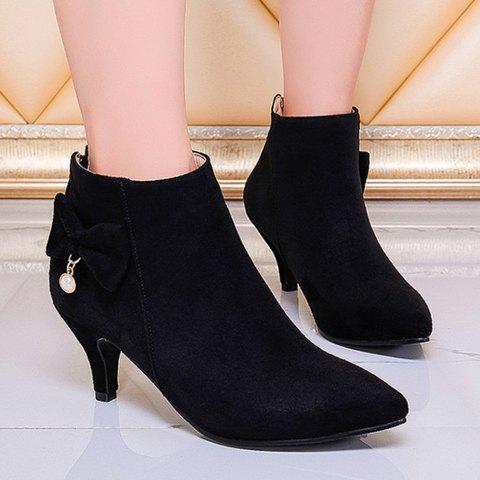 Sweet Suede and Bow Design Women's Ankle Boots - 39 BLACK