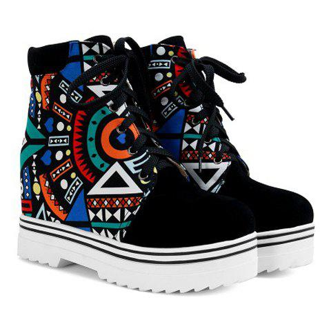 Fashion Lace-Up and Print Design Women's Ankle Boots - BLUE 37