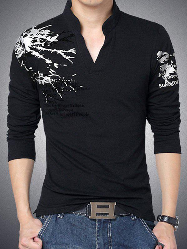 Stylish Letter Printed Stand Collar Long Sleeve Tee For Men - BLACK 4XL