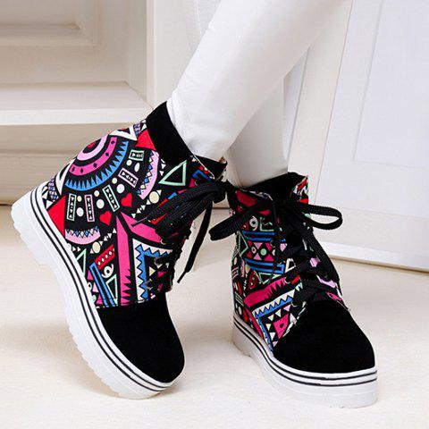 Fashion Lace-Up and Print Design Women's Ankle Boots