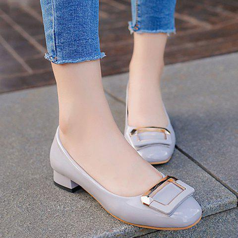 Trendy Metal and Square Toe Design Women's Flat Shoes - GRAY 38
