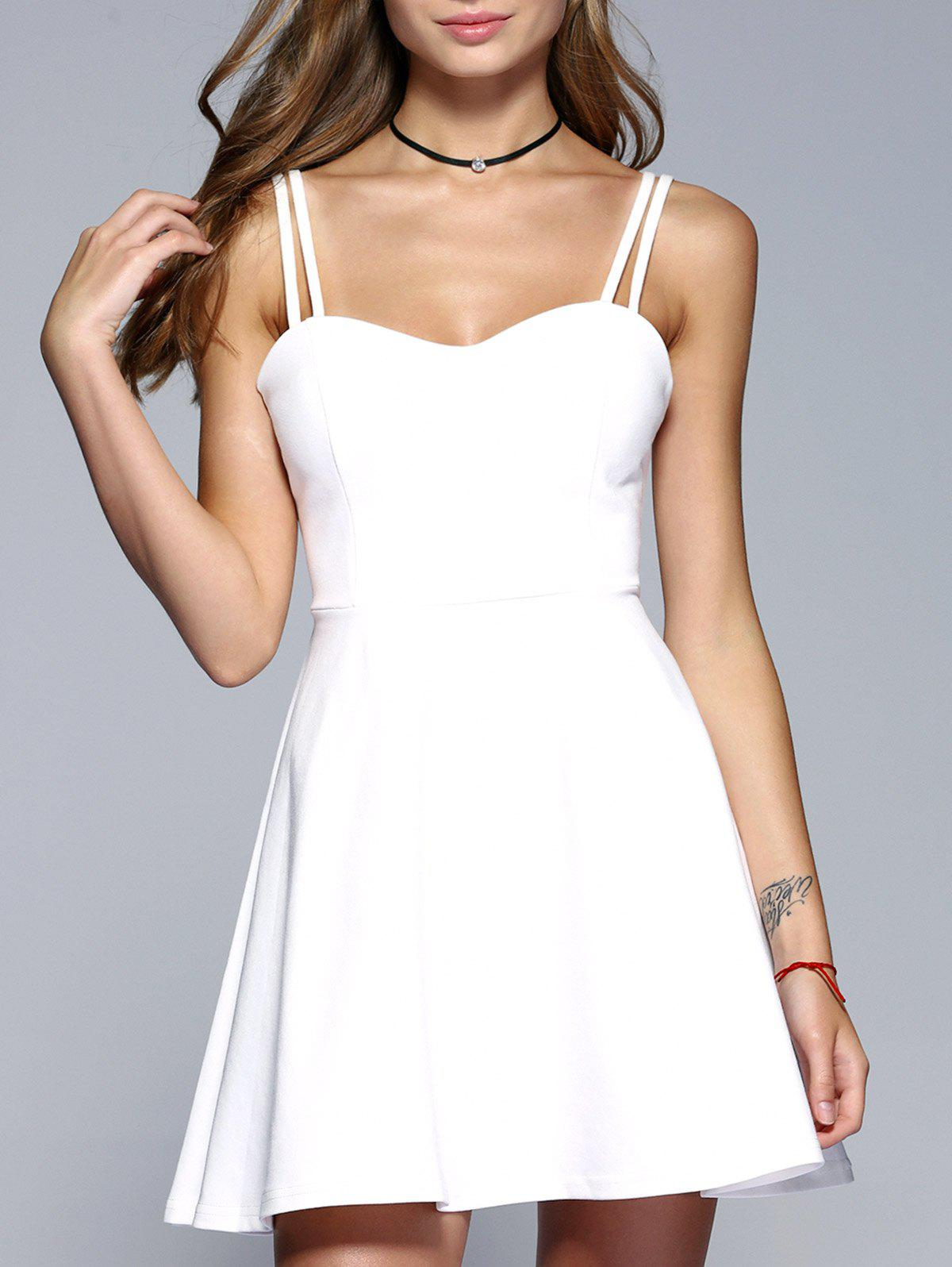 Strappy Backless A-Line Skater Dress - WHITE L
