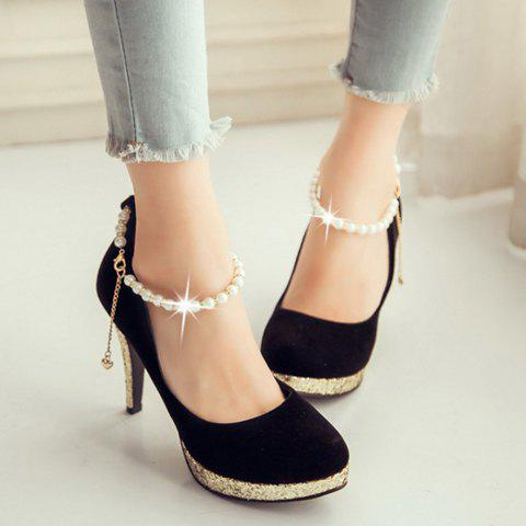 Graceful Beading and Suede Design Women's Pumps - BLACK 39