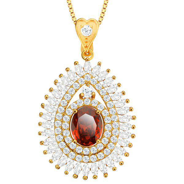 Charming Rhinestone Faux Ruby Water Drop Necklace For Women -  RED