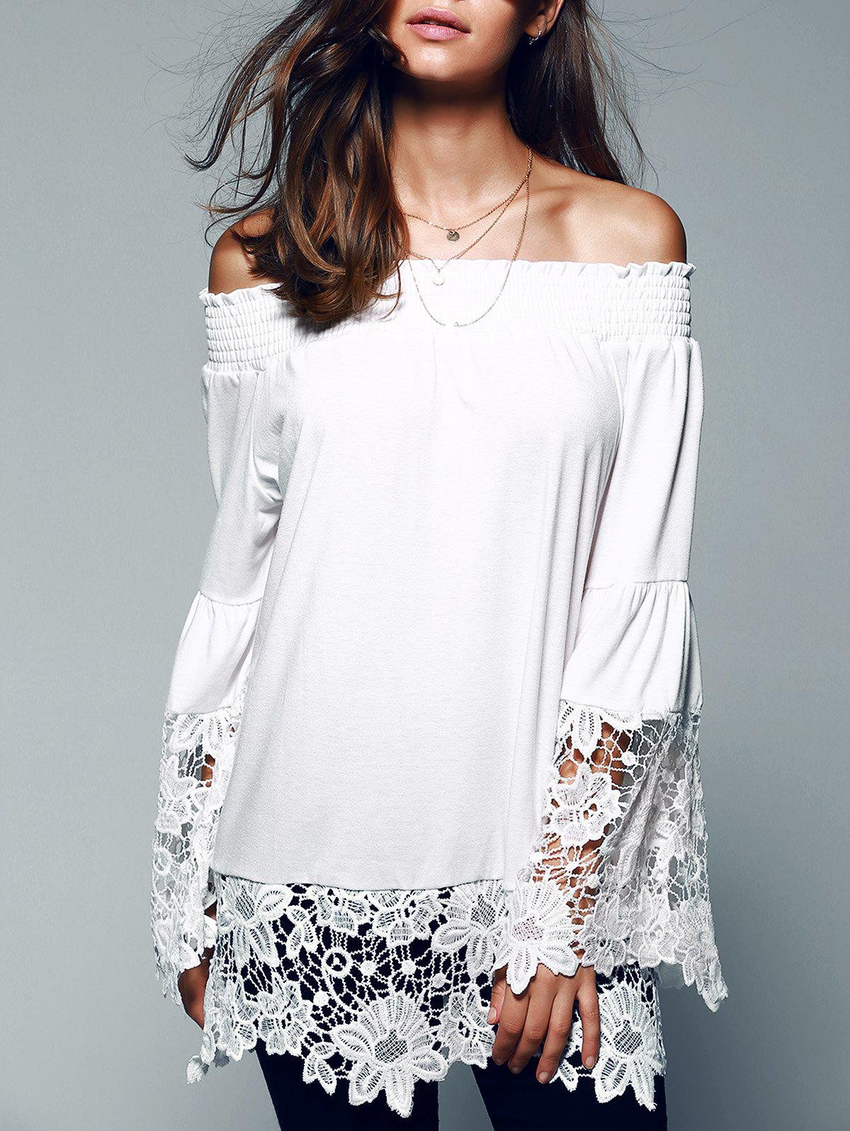 Off The Shoulder Lace Splicing Blouse - WHITE XL