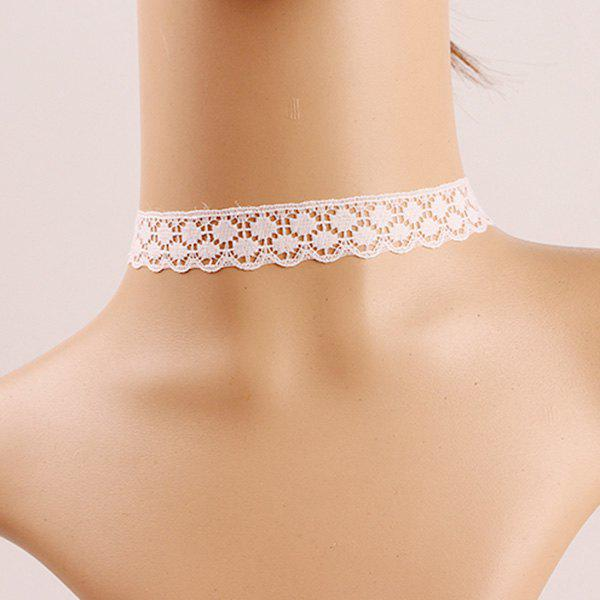 Retro Style White Hollow Out Lace Choker Necklace For Women - WHITE