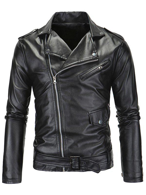 Zip-Up Fashionable Turn-Down Collar Long Sleeve Men's PU-Leather Jacket - BLACK 2XL