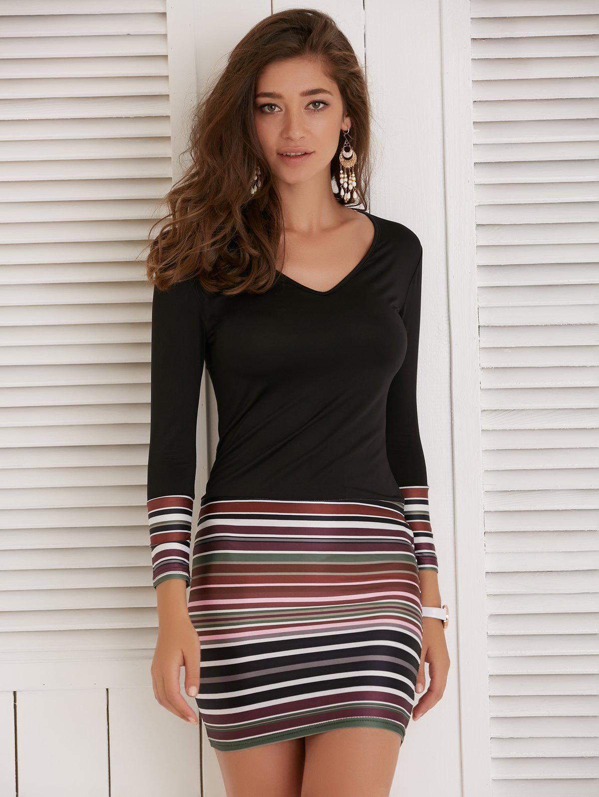 Colorful Striped Long Sleeve V-Neck Dress - BLACK M