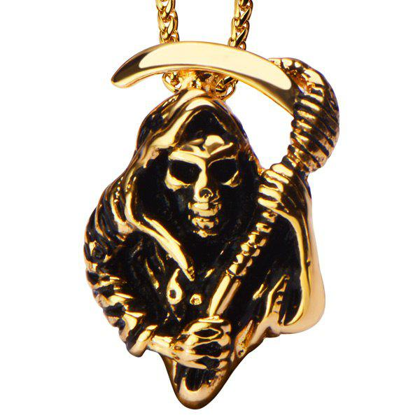Punk Style Skull Knife Necklace - GOLDEN
