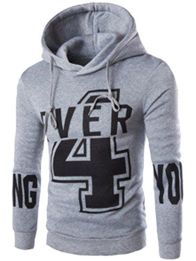 Preppy Drawstring Hooded Letters Number Print Solid Color Long Sleeves Men's Fitted Hoodie - LIGHT GRAY M