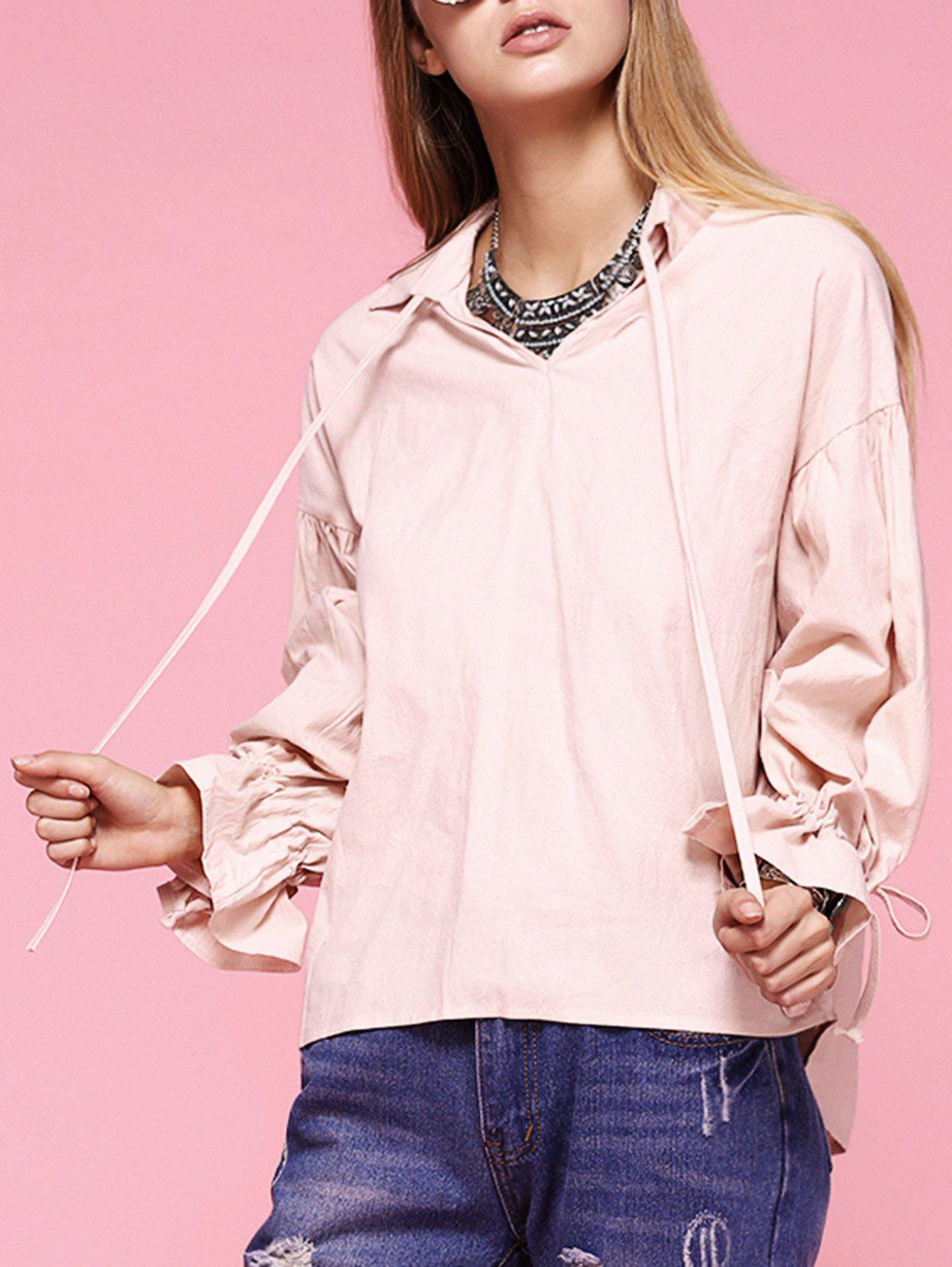 Sweet Puff Sleeve Tie Front Blouse - SHALLOW PINK ONE SIZE(FIT SIZE XS TO M)