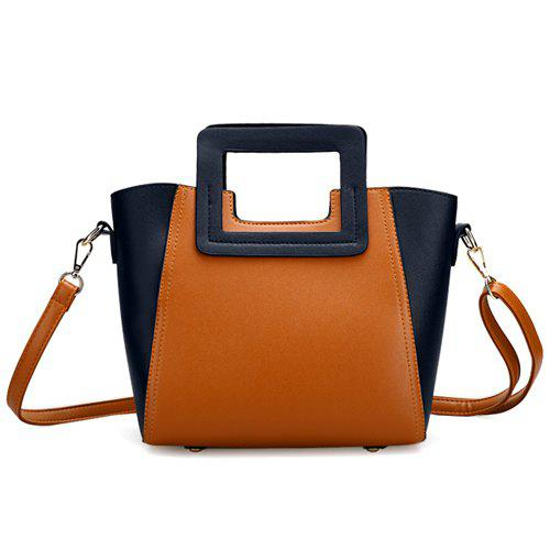 Trendy Snap Button and Color Block Design Women's Tote Bag - BROWN