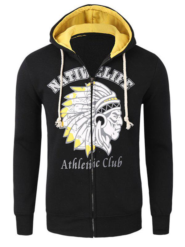 Casual Zipper Flying Indian Print Long Sleeves Hoodies For Men - YELLOW/BLACK L