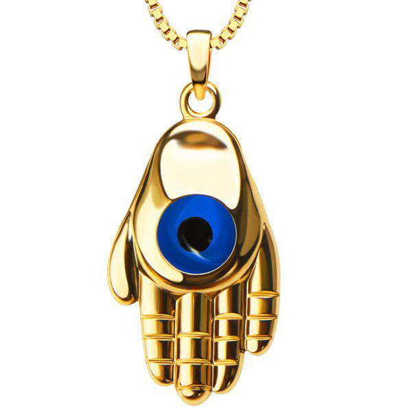 Devil Eye Palm Pendant Necklace - GOLDEN