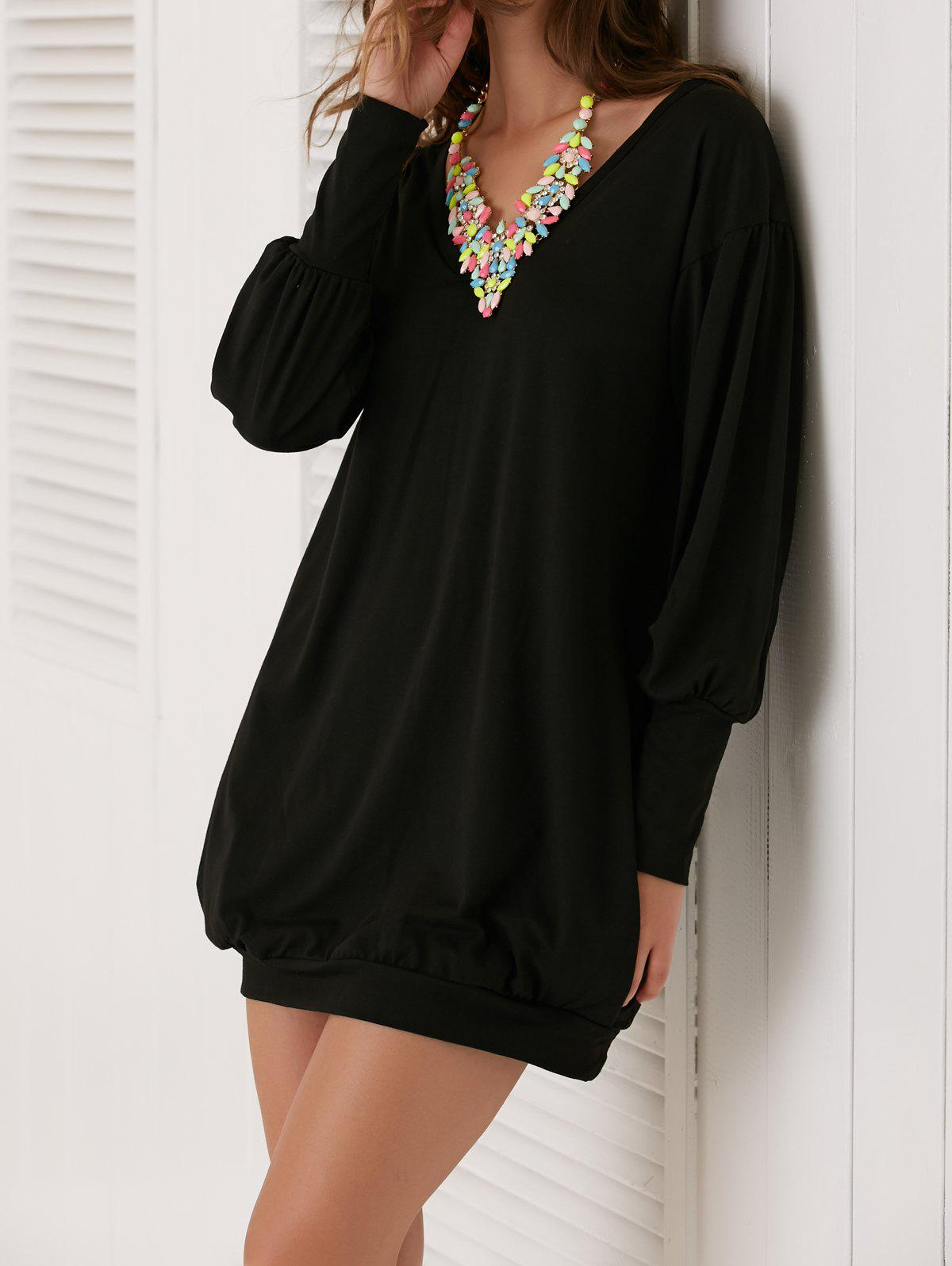 Pocket Design V-Neck Long Sleeve Dress - BLACK L