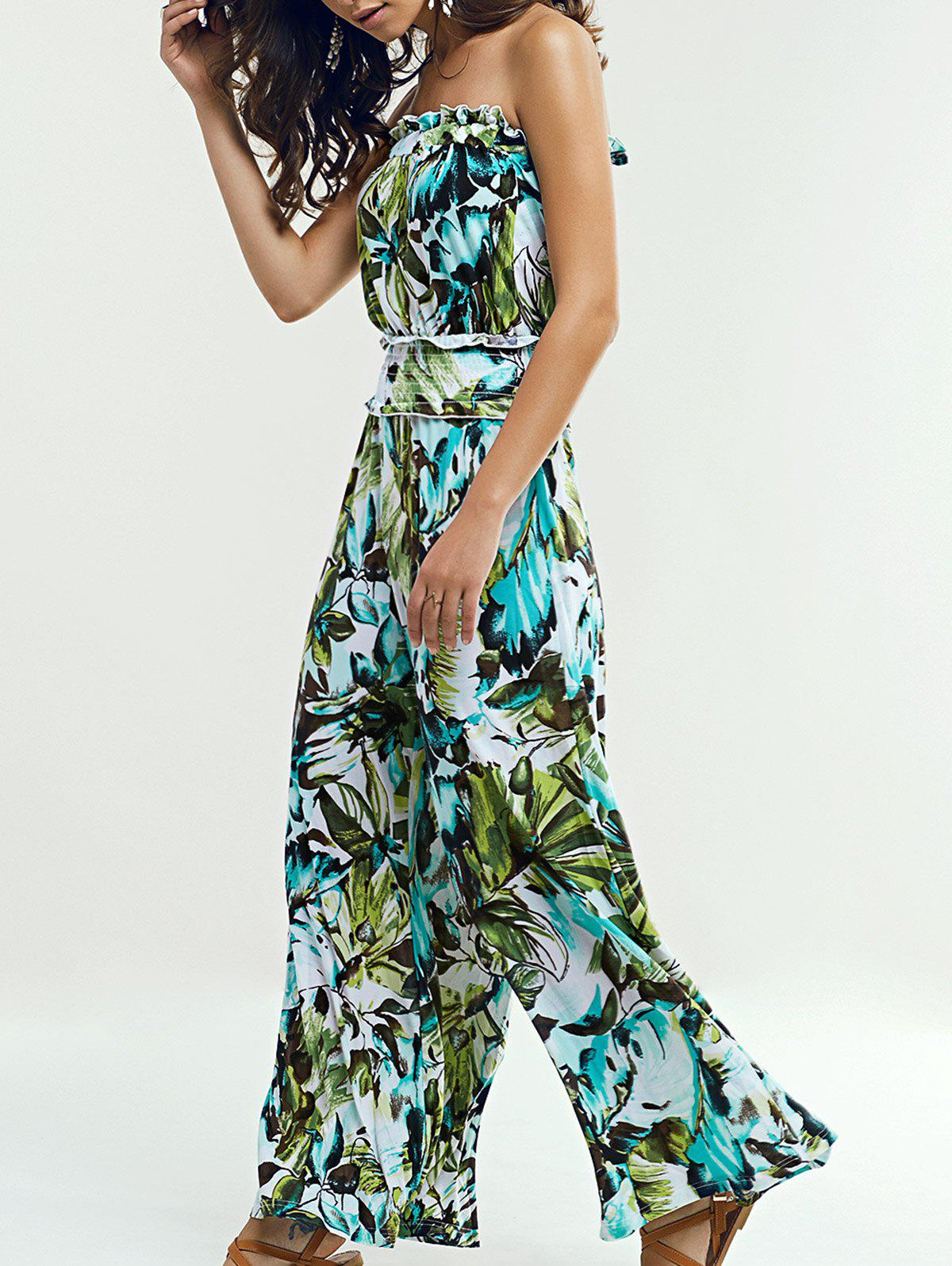 Strapless Wide Leg Leaf Jumpsuit - GREEN XL
