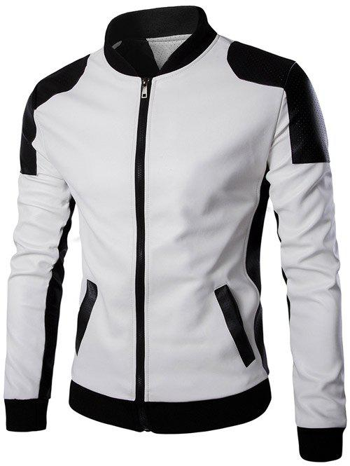 Color Block PU Leather Zippered Stand Collar Men's Jacket - WHITE 3XL