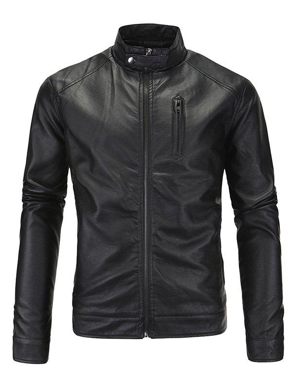 Zip-Up Fashionable Stand Collar Long Sleeve Men's PU-Leather Jacket stand neck long sleeve zip up satin jacket