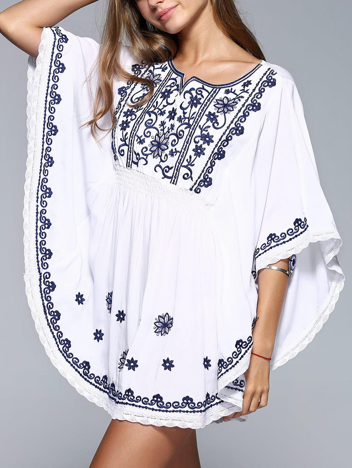 Simple Women's Dolman Sleeves Floral Embroidered Dress - WHITE ONE SIZE
