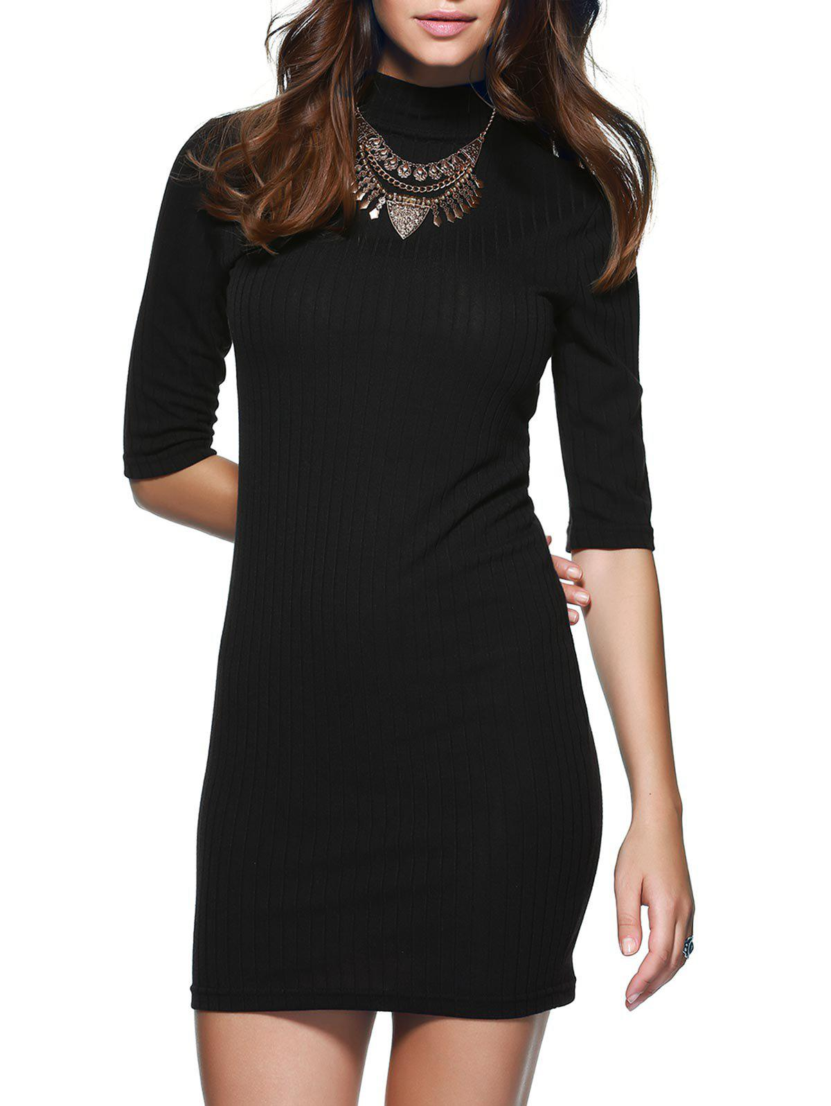 Round Neck 1/2 Sleeve Skinny Sweater Dress - BLACK XL