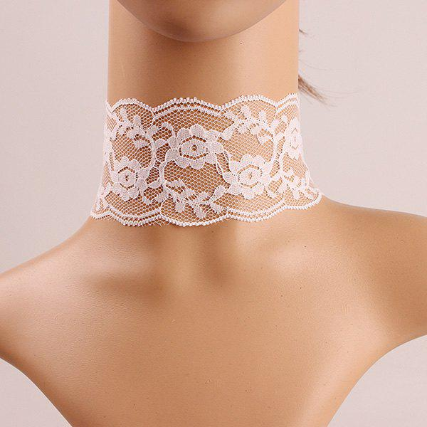 Retro Style Crochet Flower Lace Choker Necklace For Women - CRYSTAL CREAM