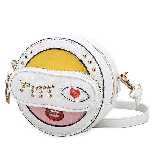 Novelty Rivets and Patchwork Design Women's Crossbody Bag - WHITE