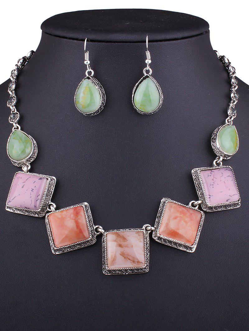 Vintage Resin Square Necklace and Earrings - SILVER