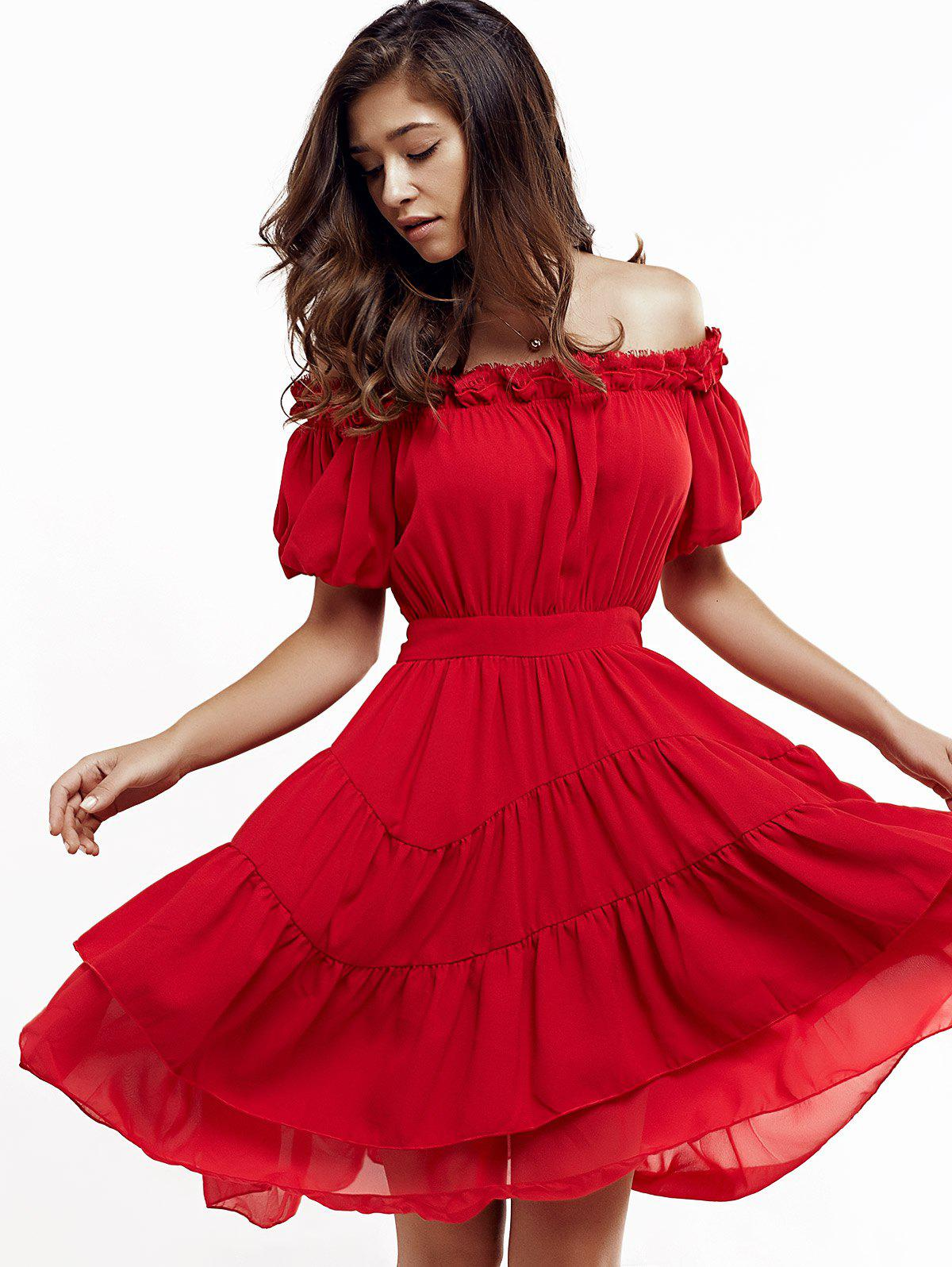 Short Off The Shoulder Puff Sleeve Tiered Dress - RED XL