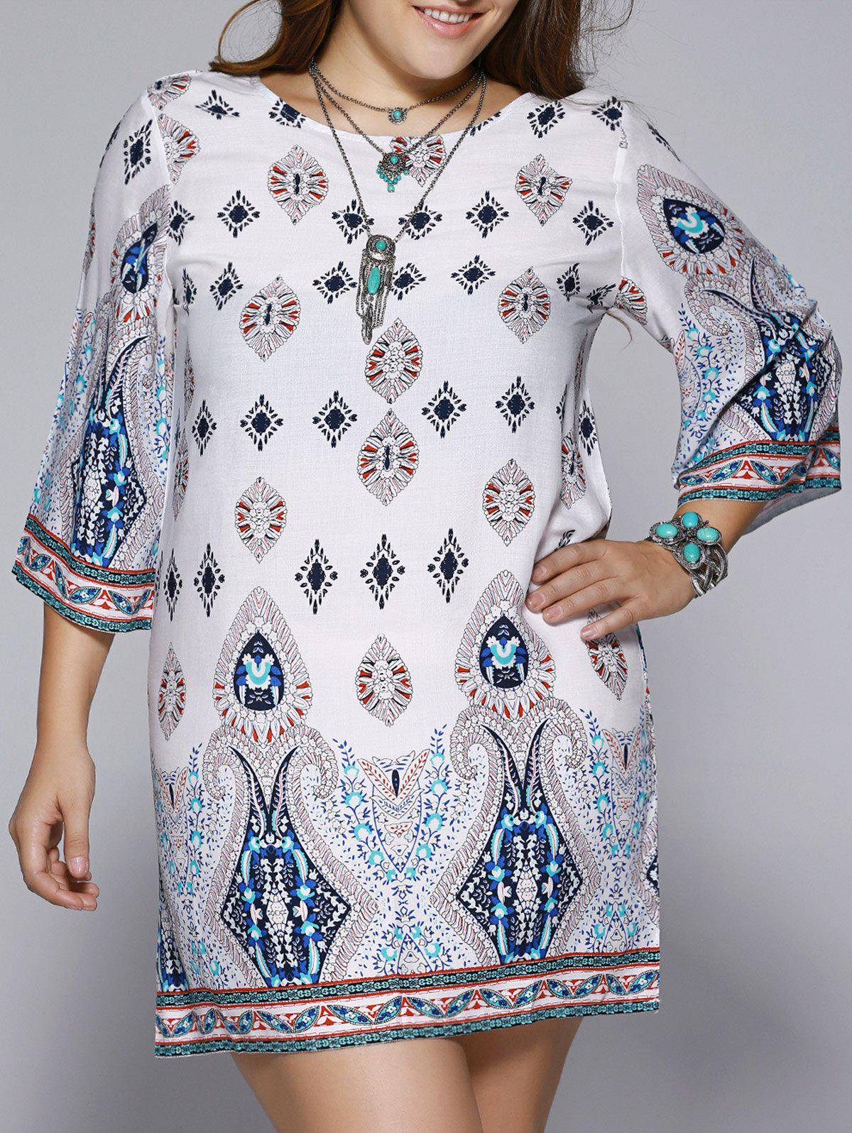 Plus Size Ethnic Print Open Back Dress - COLORMIX 5XL