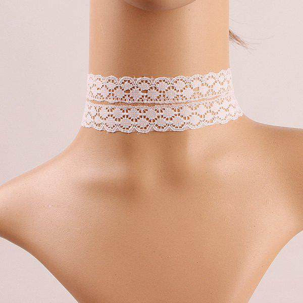 Vintage Double Layered White Lace Choker For Women - WHITE