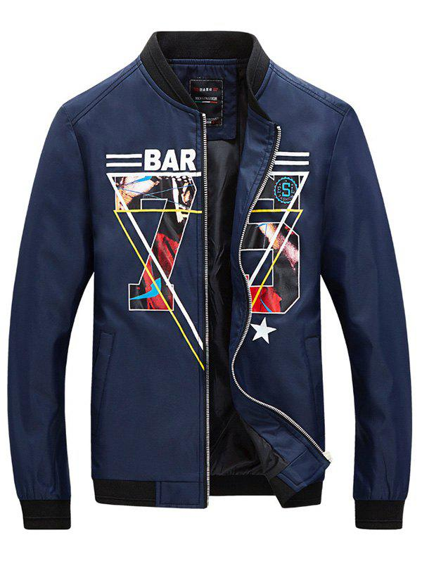 Stand Collar Plus Size Rib Splicing Long Sleeve 3D Letter Print Men's Jacket - BLUE 4XL