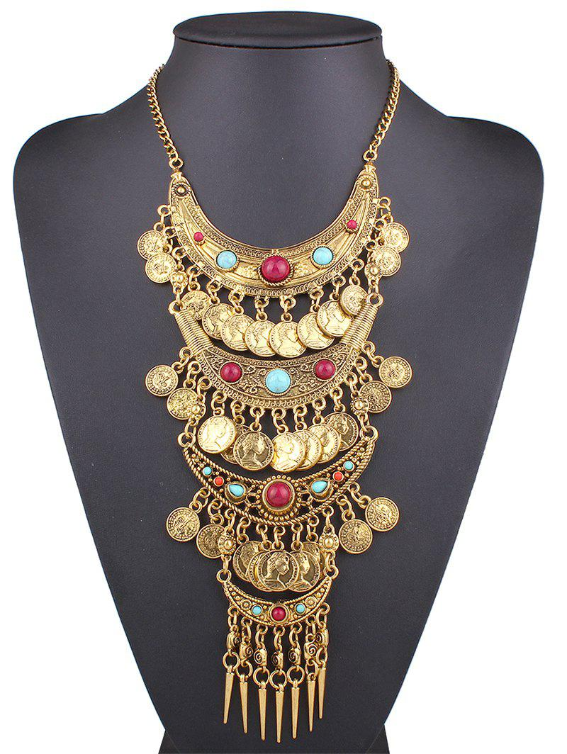 Stylish Ethnic Style Coin Statement Necklace - GOLDEN