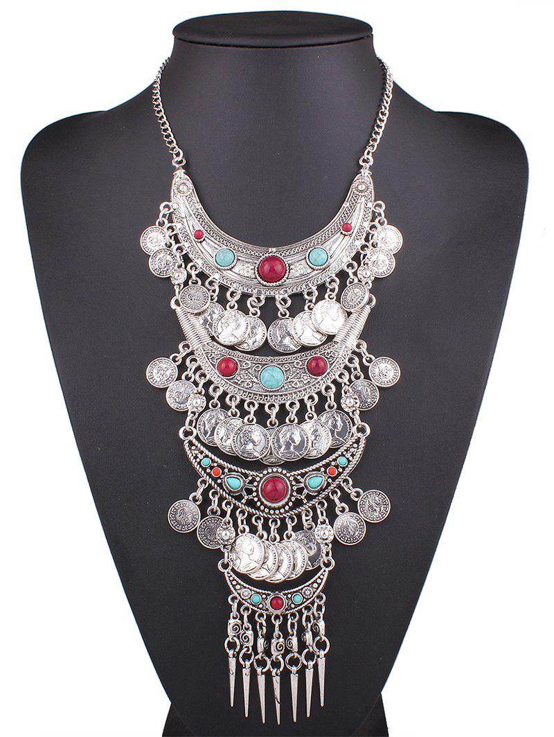 Ethnic Coin Fringe Pendant Necklace -  SILVER