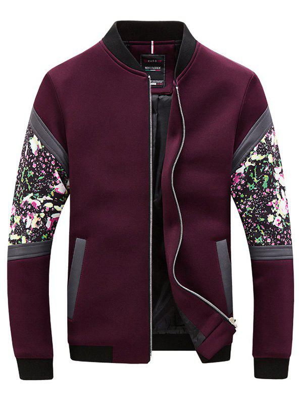 3D Floral Print PU-Leather Spliced Plus Size Stand Collar Long Sleeve Men's Jacket - WINE RED 3XL