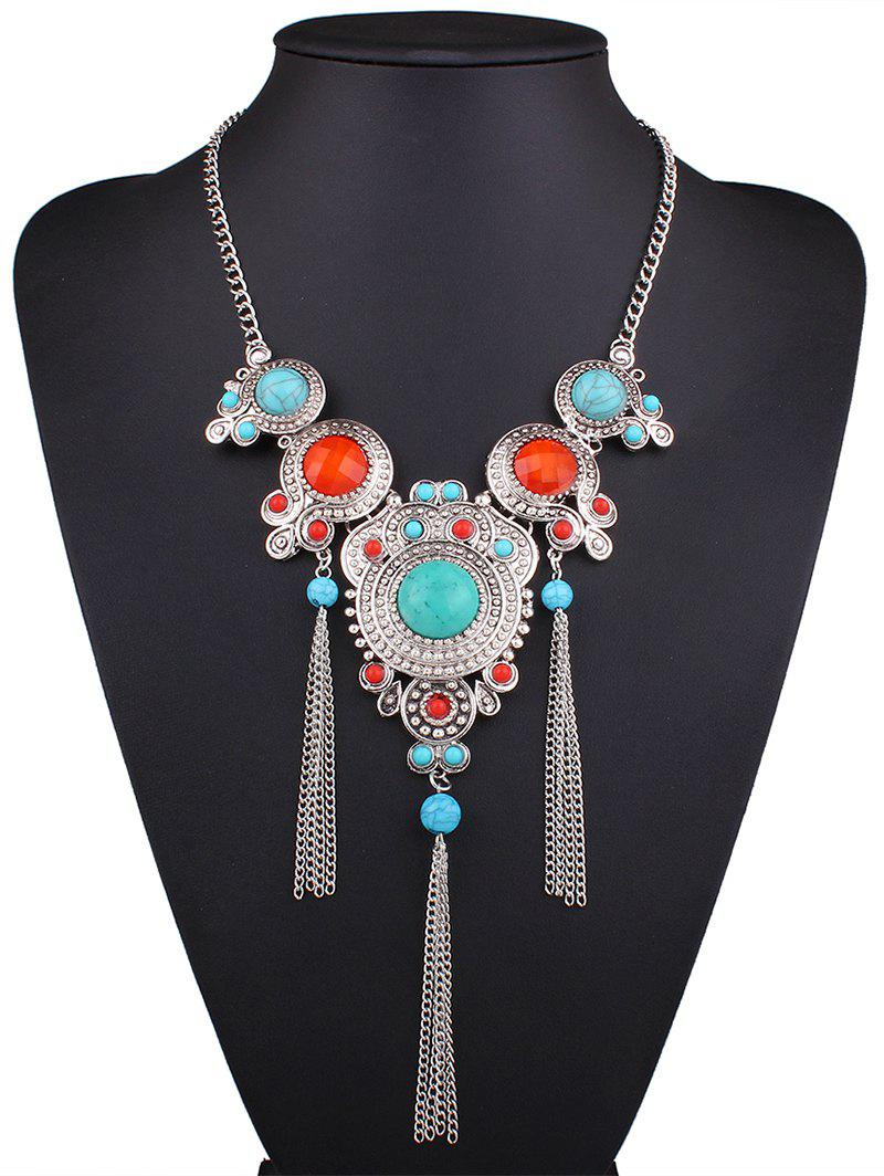 Ethnic Faux Turquoise Fringed Necklace - SILVER
